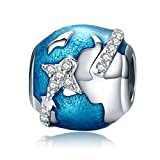 Travel Around The World 925 Sterling Silver Bead Charms Fits Pandora, European Bracelets Compatible