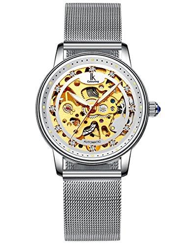 Alienwork Damen mechanische Automatik-Uhr Silber mit Milanaise-Mesharmband Edelstahl Weiss Skelett