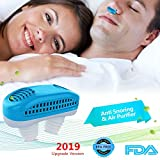 Upgrade 2-in-1 Anti Snoring Devices, Snoring Solution Nasal Dilator Nose Vents Plugs Clip Stop Snoring Aids Snore Stopper Reduce Snoring Sleeping Aid Device for Ease Breathing (Blue)