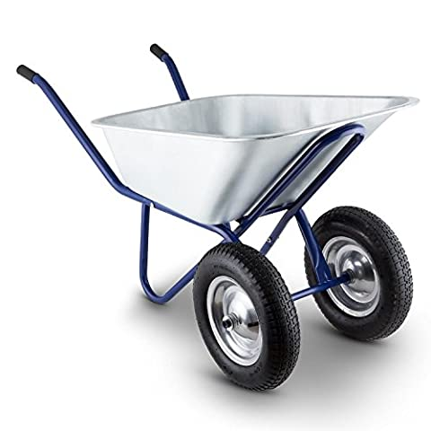 Waldbeck Heavyload • Schubkarre • Hofkarre • Transportkapazität 120l • Ladekapazität 320 kg • Stahlrohrrahmen • 2-rädrige Vorderachse • vollverzinkte Stahlblechwanne • Witterungsresistent • pulverbeschichteter Rahmen • Gummihandgriffe • blau-silber