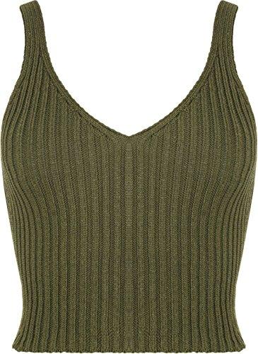 femmes tricot crochet haut court été brassière femmes col V profond haut Kaki