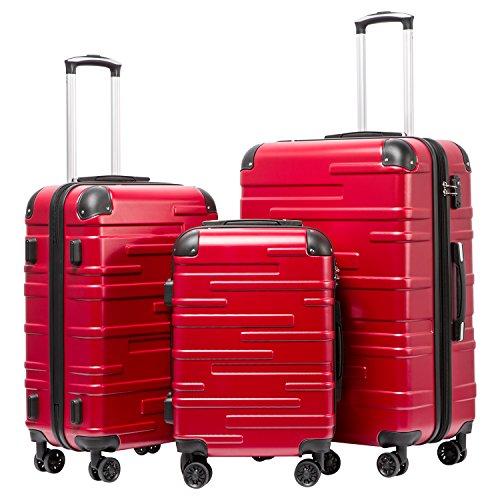 COOLIFE Hartschalen-Koffer Rollkoffer Reisekoffer Vergrößerbares Gepäck (Nur Großer Koffer Erweiterbar) ABS Material mit TSA-Schloss und 4 Rollen(Rot,...