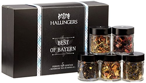 Hallingers Tee Mix Best of Bayern Set/Mix 5 x Miniglas in MiniDeluxe-Box, 1er Pack (1 x 40 g)