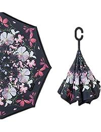 Su-luoyu Al Aire Libre Impresión Creativa Tipo C inversa Doble Capa Paraguas Paraguas de