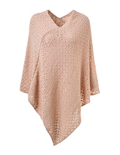 Ferand - poncho elegante mantella oversize lavorato a maglia all'uncinetto collo a v - donna - taglia unica - rosa
