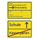 Einladungskarten Einschulung Schulanfang Jungen Mädchen 8 Stück - Ortsschild