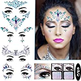 Piedras preciosas para la cara, para festivales, con cristales de estrás, temporales, mermaid, joyas, cejas, rostro, joyas para el cuerpo
