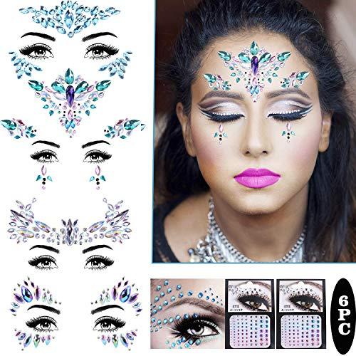 Gesicht Edelsteine,Gesichtstattoo Festival Glitter Juwelen Kristalle Strass Temporäre Mermaid Juwelen Augenbraue Gesicht Körperschmuck