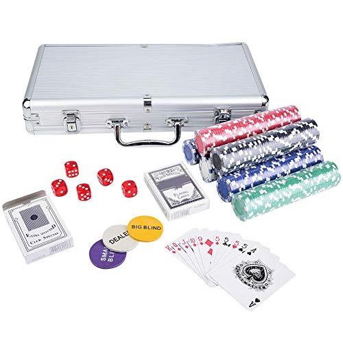 lahomie Ficha de Póker, Juego de Fichas Póker ste Profesional 100 / 300 / 500 Chips Juego de Cartas de Póker de Texas Cards Juego de Accesorios para Juegos de Casino con Tapete y 5 Dados (300pcs)