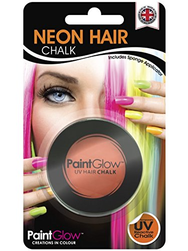 Smiffy's SM46091 - Pot Craie UV Cheveux 3 - 5 g Orange - Taille Unique