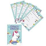Oblique-Unique® Einladungskarten - Einhorn Party - 6-er Kartenset UNICORN - Einladungskarten für Kindergeburtstag