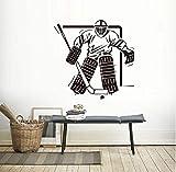 Mrlwy Sport Jungen Schlafzimmer Eishockey Torwart Wandtattoo Art Vinyl Removable Home DecorWandaufkleberwandbild Fürkinderzimmer 59X59 Cm