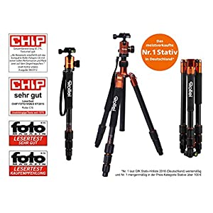 Rollei C5i - Aluminum Tripod with Panoramic Ball Head - ARCA SWISS compatible - Max. Load 8 kg - Max. height 159 cm - Orange