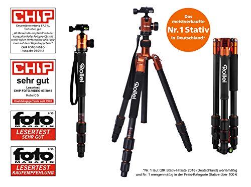 Rollei C5I | Orange | leichtes Foto-Stativ | Alu | Reise-Stativ | Macro | Monopod | Arca Swiss
