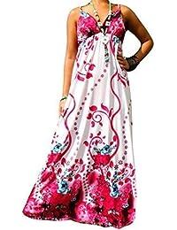 Robe Longue Femme Angela Rope - Fleur Rose, Femme, 36-38