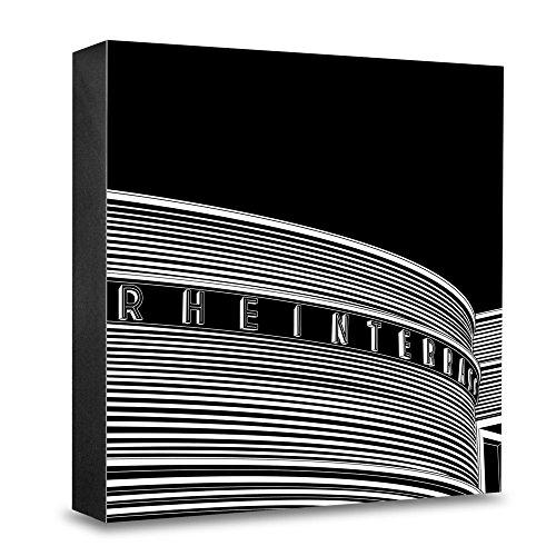 Foto-Holzblock medium - 15 x 15 cm - Stadtgrafiken - Wandbild internationale Architektur - Düsseldorf, Rheinterrasse