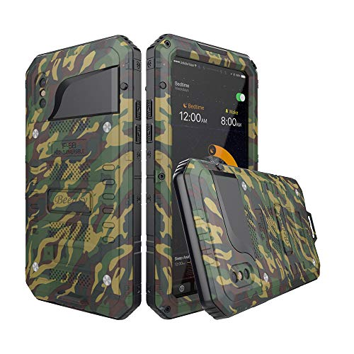 Beeasy Handyhülle Kompatibel mit iPhone X Stoßfest Wasserdicht Schutzhülle Outdoor Militärstandard Handy Case mit Eingebautem Displayschutz Waterproof Robust Metall Bumper Heavy Duty Hülle Camouflage