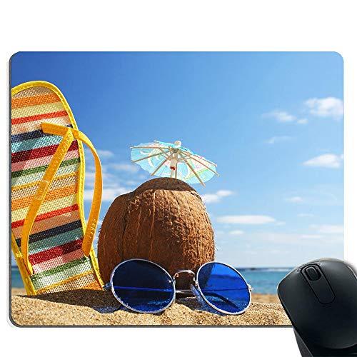 Mauspad und Computer Gaming Mauspad (Kokosnuss, Hausschuhe und Sonnenbrillen) (Antimikrobiellen Oberfläche)