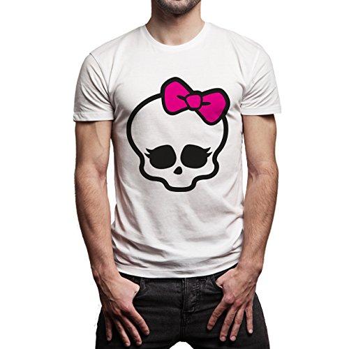 Skull With Bow Pink Background Herren T-Shirt Weiß