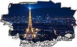 DesFoli Frankreich Paris Eifelturm 3D Look Wandtattoo 70 x 115 cm Wanddurchbruch Wandbild Sticker Aufkleber C266