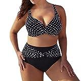 Hevoiok Damen Bikini-Sets große größen Super Sexy Punkte Gepolstert BH Bademode Badeanzug Badebekleidung Bikinis Zweiteilig S-5XL (Schwarzer, 4XL)