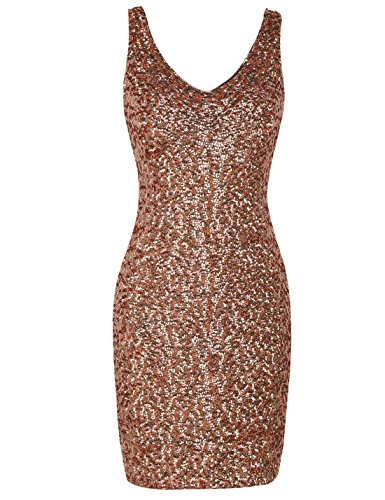 PrettyGuide Damen reizvoller tiefer V-Ausschnitt Pailletten Glitzer Bodycon Stretchy Minipartei-Kleid S Rosé gold (Kleid Rose)