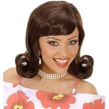 Peluca castaña retro 60 de mujer carnaval años 50 pelo sintético accesorio vestuario