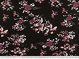 ab 1m: Viskose Jersey, Blumendruck, schwarz-wildrose, 145cm