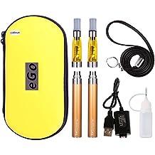 WOLFTEETH 2 Paquete de 1100mah Ego CE4 Cigarrillo electrónico kit de iniciación con indicador de energía | Ego Batería recargable | CE4 Pulverizador recargable de líquido | No contienen nicotina ni tabaco | Amarillo 1007