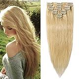 Echthaar Clip in Extensions günstig Haarverlängerung 8 Tressen 18 Clips Remy Human Hair 45cm-70g(#613 Hell-Lichtblond)