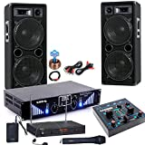 etc-shop 3000W PA Party Musik Anlage Boxen MP3 USB SD Endstufe Mixer Funk Mikro DJ-Blue 6