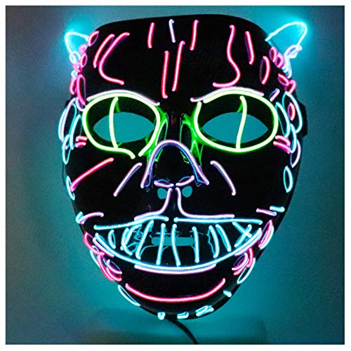 Nette Katze König Cos Glow Maske Make-up Styling Supplies LED Kaltlicht Maskerade COS Dress Up Anime Cosplay,Multi Colored-OneSize