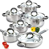 Cook N Home 02410 12 Piece Stainless Steel Cookware Set, Silver