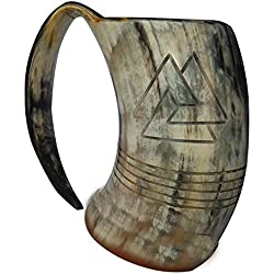 Jarra grande de cerveza, de Odín, de cuerno 100% natural y diseño con motivos de estilo vikingo grabados, pulida y con color, de 20 cm y capacidad aproximada de 0,97-1 litro
