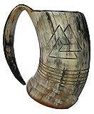 """Boccale da birra, design con incisioni vichinghe a tema """"Mano di Odino"""", in corno naturale, lucidato, dimensioni: 20,32 cm, capacità: 1 l circa"""