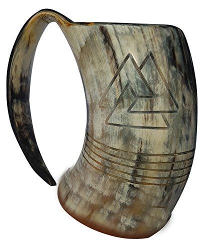 Odin Hand Engraved Viking Horn Tankard