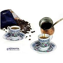Porcelain Turkish Coffee Set Espresso Topkapi 6 Cups and Saucers with Ottoman Design