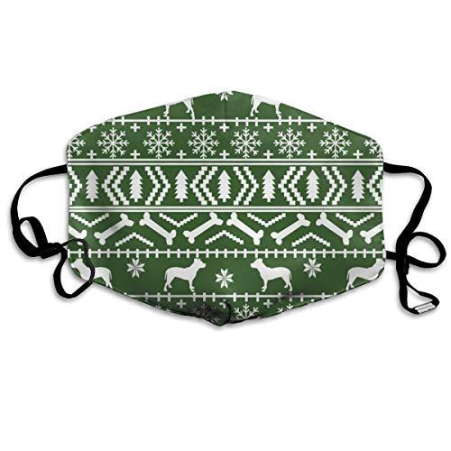 Pitbull Fair Isle Christmas Dog Silhouette Med Green Anti Dust Mask Washable Wiederverwendbare Mouth Masks