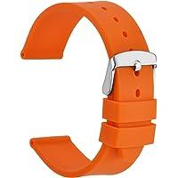 WOCCI Cinturino Orologio in Silicone con Fibbia in Acciaio Inossidabile Argento, Cinturini di Ricambio 18mm 20mm 22mm…