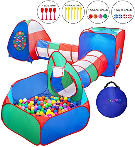STLOVe Tente Tunnel Enfant,Personnalisé Tente Escamotable Extérieure pour Tente Escamotable avec Piscine pour Enfants (sans Ballon),5 en 1 Tente Pop-Up│8 Balles+1 Panier de Basket+4 Fléchettes