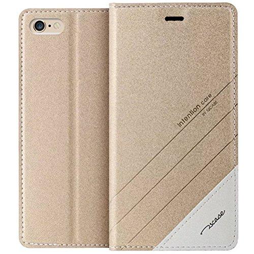 MOONCASE iPhone SE Custodia, Premium Protettiva in pelle Bookstyle Flip Cover Stand Case per iPhone 5 / 5S / iPhone SE Blu Oro