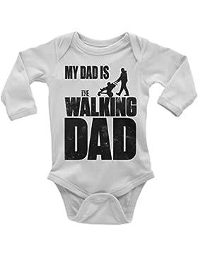 Mikalino Babybody My Dad is The Walking Dad Langarm 100% handbedruckt in Deutschland - bei 60 Grad waschbar -...
