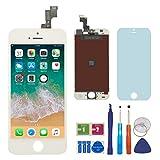 BBSELL LCD Affichage Tactile écran Remplacement Numérique Cadre Complet Outil de Montage et Verre Protecteur d'écran Pour iPhone 5s 4.0 (Blanc)