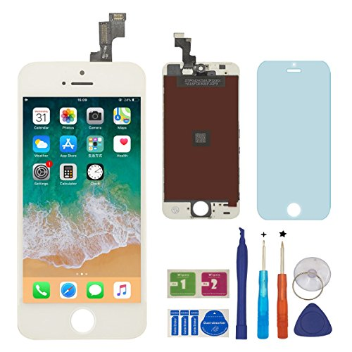 BBSELL Display Completo LCD Assembly Digitizer conversione digitale di touch LCD comprende per iphone 5S (Bianco)
