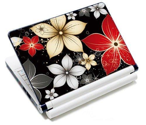 MySleeveDesign Notebook Skin Aufkleber Folie Sticker für Geräte der Größe 10,2 Zoll / 11,6-12,1 Zoll / 13,3 Zoll / 14 Zoll / 15,4-15,6 Zoll mit VERSCH. DESIGNS - Red Flowers
