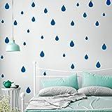 Pared de Etiqueta, RETUROM Etiquetas engomadas desprendibles de la pared de las gotas de agua de la historieta de DIY(Azul)