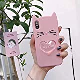 Cartoon Case for iPhone 10, SevenPanda iPhone X iPhone 10 5.8 Inch Premium Ultra Thin Silicone Case Cover Quicksand Soft Shockproof Anti-slip Protective Lovely Cute Cats Happy Cat Ears Phone Cover Soft Silicone Gel Shock Absorber Flexible Protective Phone Case Back Cover With Hair Ball Tassel - Pink