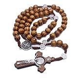 huyiko Mode Handarbeit, rund, katholische Perle, Rosenkranz, Kreuz, religiöse Holzperlen, Herren, Halskette, Charme Geschenk