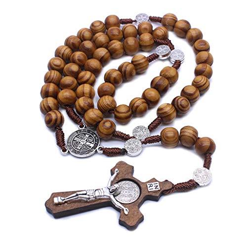 Vxhohdoxs Herren-Kette, handgefertigt, runde Perlen, katholisches Rosenkranz, religiöse Holzperlen, Geschenk