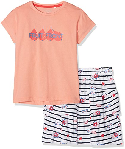 NAME IT Mädchen Bekleidungsset Nkfvegas Capsl Set K, Mehrfarbig (Blooming Dahlia Detail:Set W. Vigga Skirt in Bright White Comb. 3), 122 (Herstellergröße: 122-128)